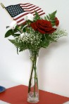 Flowers in Vase with American Flag